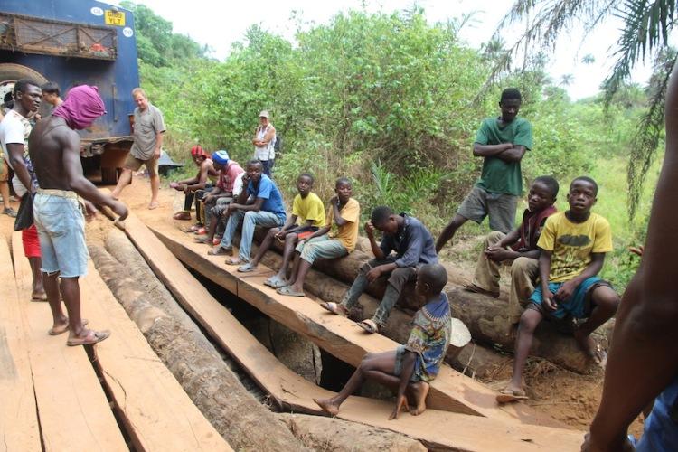 Broken bridge in Sierra Leone