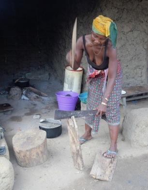 Splitting wood, Sierra Leone