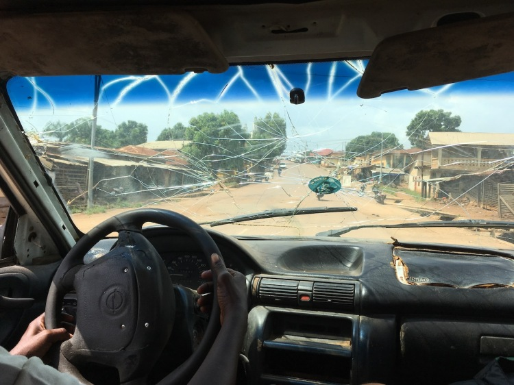 Broken windscreen, Africa