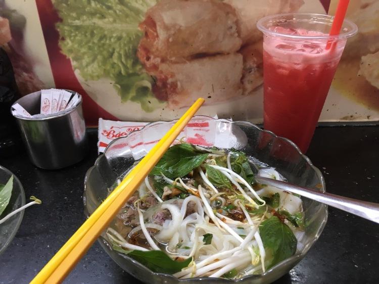 Pho and watermelon juice, Ho Chi Minh City, Vietnam