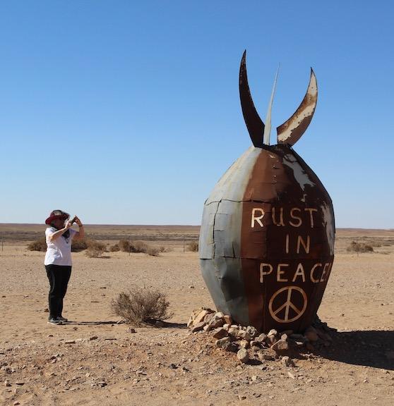 Rust in peace, a make-believe bomb.