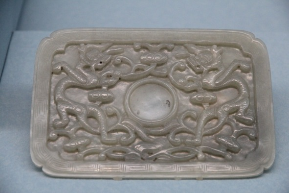 Jade tray with dragon pattern
